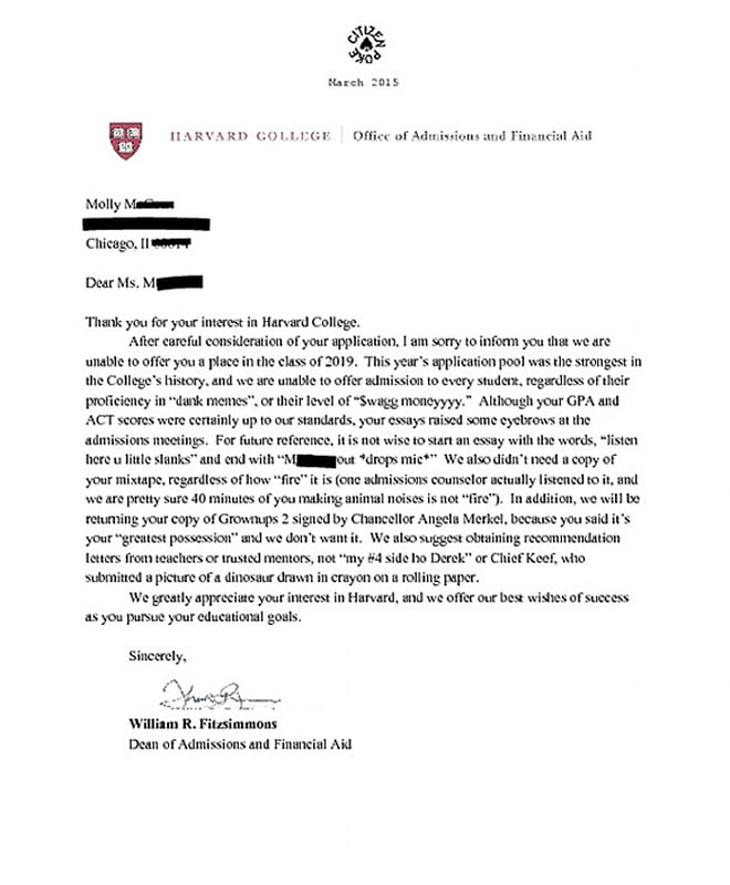 This Fake Harvard Rejection Letter Almost Broke The Internet | Cambio
