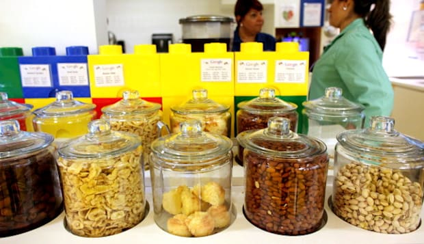 NEW YORK, NY - AUGUST 22: Healthy snack jars, in the 4th floor cafeteria at Google's headquarters in Manhattan, NY, on August 22, 2013.  (Photo by Yana Paskova/For The Washington Post via Getty Images)