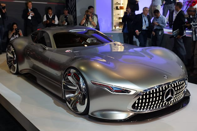 Mercedes debuts the 1:1-scale model of the AMG Vision Gran Turismo Concept, which will be a playable, virtual supercar in Sony's Gran Turismo 6.
