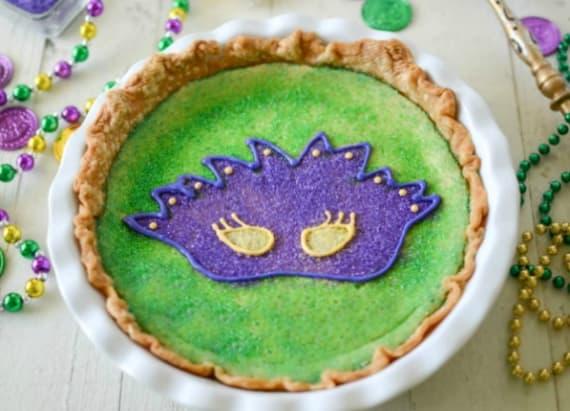 Mardi Gras king cake pie
