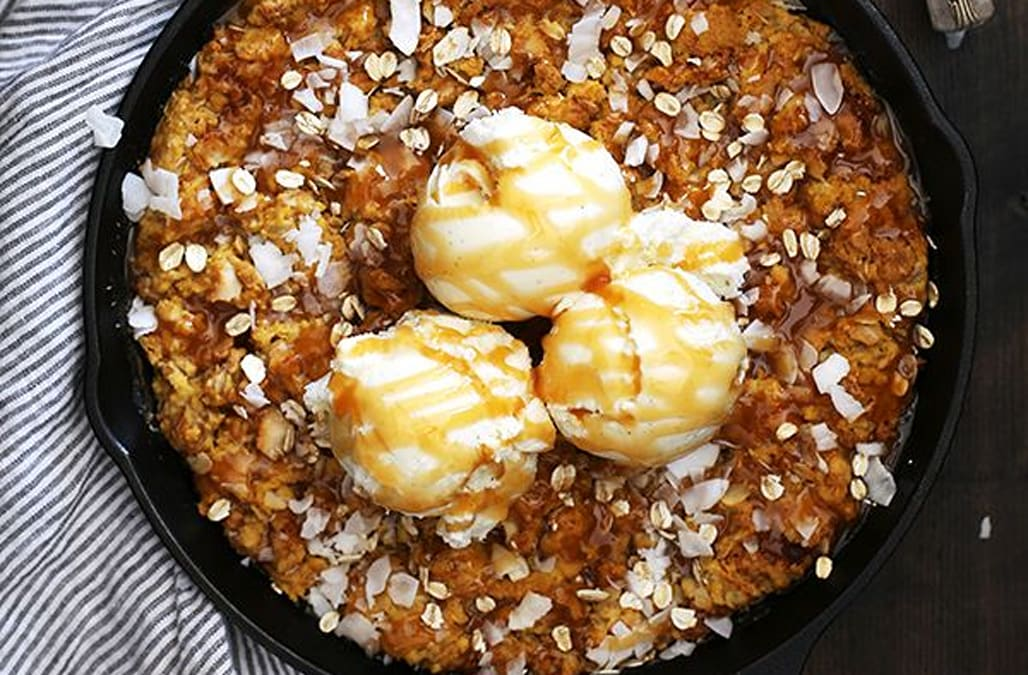 Coconut caramel pumpkin oatmeal skillet cookie