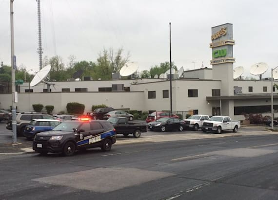 Man shot after bomb threat at TV station