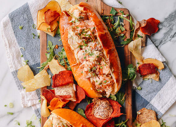 Lobster roll with crispy ginger and scallions