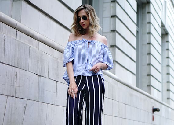 Street style tip of the day: Off-the-shoulder stripes with wide leg trousers