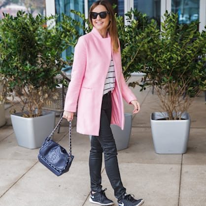 Street style tip of the day: Pink coat and stripes