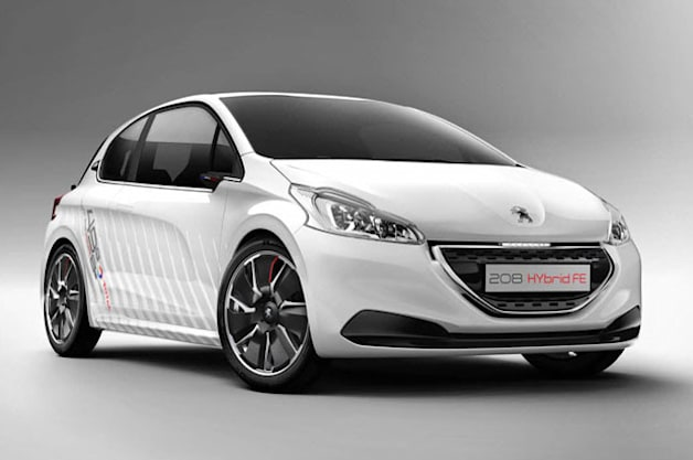 Peugeot 208 Hybrid FE - front three-quarter view, white