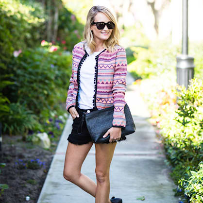 Street style tip of the day: Prints and pom poms