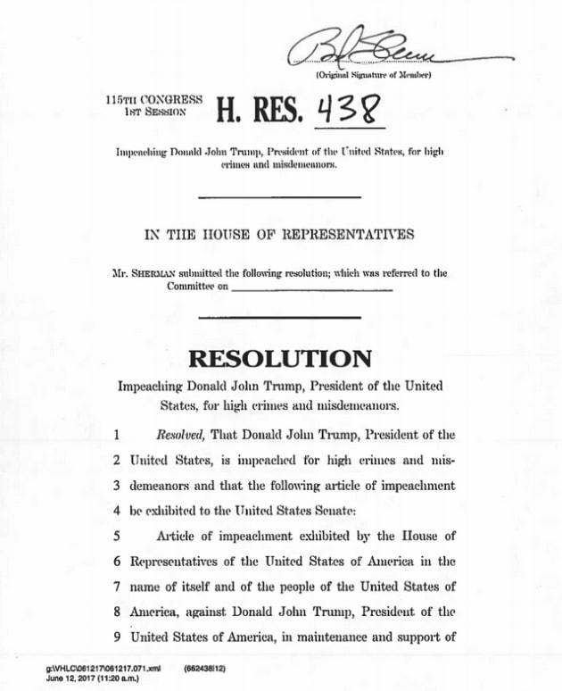 La première résolution pour destituer Trump déposée — Etats-Unis