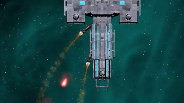 Spaceship shooting rockets at huge boss spaceship in Spaceborn