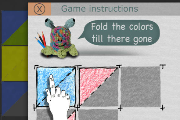 Folds tutorial screen showing crayon drawn triangle art style