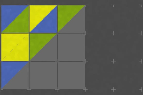 Two triangles make up a yellow square in Folds