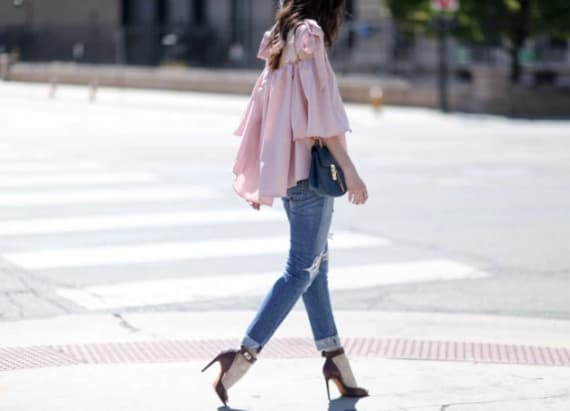 Blush pink blouse great for date night