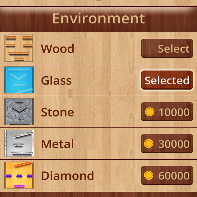 Players can purchase backgrounds and power ups using coins in BOLLS