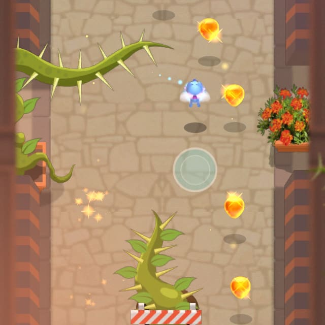 Players collect nectar while dodging enemies and hazards in Fly By!