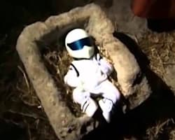 The Stig as Baby Jesus nativity scene