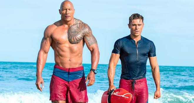 Baywatch (2017)Dwayne Johnson as Mitch Buchannon and Zac Efron as Matt Brody