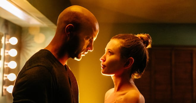 "Shadow Moon (Ricky Whittle) and Laura Moon (Emily Browning) in Starz's ""American Gods"""