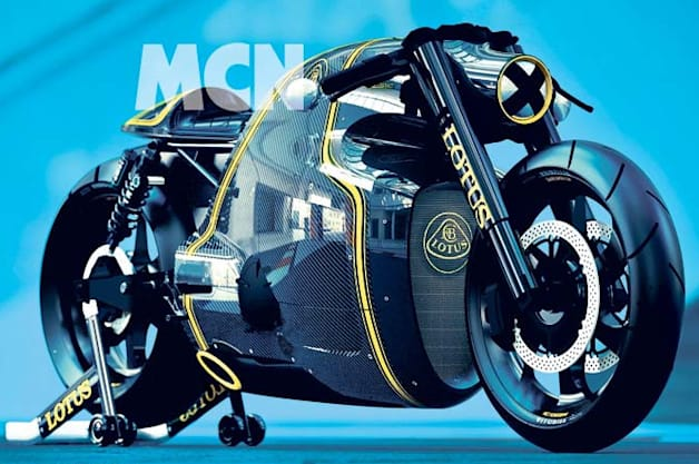 lotus c-01 motorcycle shows its carbon-fiber face