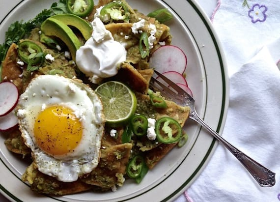 Green chilaquiles with fried eggs
