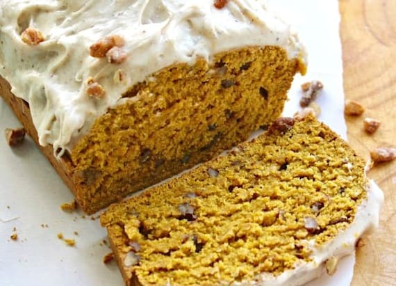 Pecan-pumpkin bread with chai cream cheese frosting