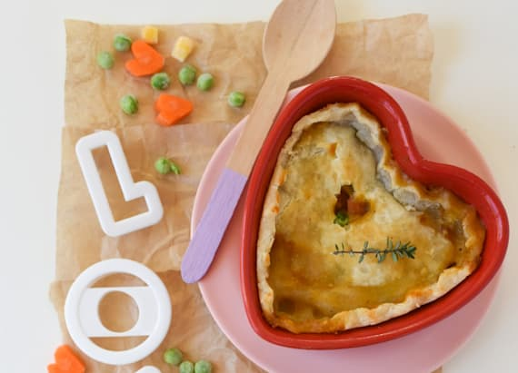 Heart-shaped pot pies for V-Day