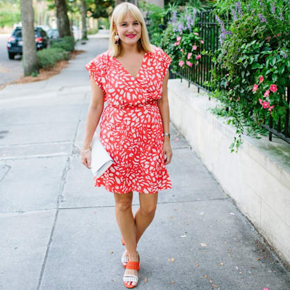Street style tip of the day: Red patterned dress