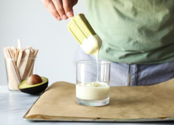 Avocado and banana cream pops