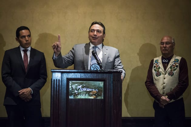 The Assembly of First Nations (AFN) National Chief Perry Bellegarde (centre), Inuit Tapiriit Kanatami (ITK) President Natan Obed (left) and Metis Nation (MNC) President Clement Chartier speak about Indigenous Peoples participation in federal-provincial-territorial intergovernmental meetings during a press conference held in Toronto on Monday, July 17, 2017. THE CANADIAN PRESS/Christopher Katsarov.
