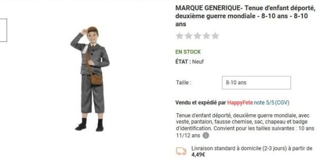 Polémique: des tenues d'enfants déportés vendues sur Rue du Commerce