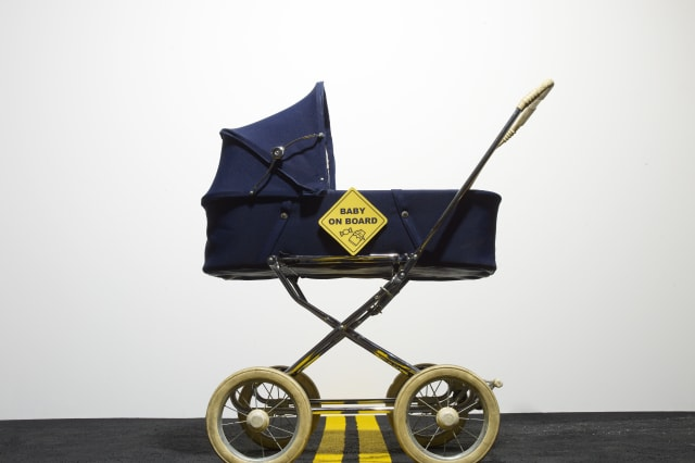 Gran saves baby in pram from car
