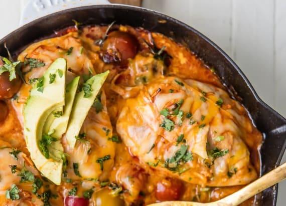 Inside-out chicken enchiladas