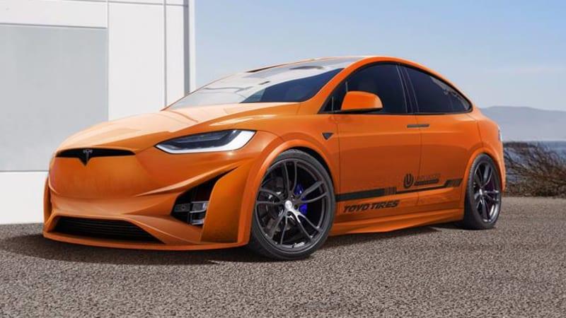 Pre Owned Tesla >> SEMA Tesla Model X adds bright orange carbon-fiber rear spoiler - Autoblog