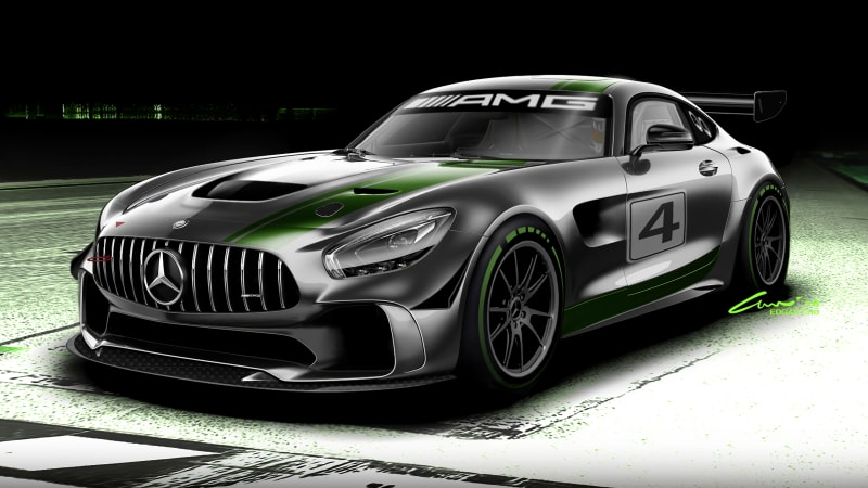 Think of the Mercedes-AMG GT4 race car as a super serious GT R