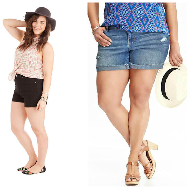 cute plus size denim shorts from modcloth and old navy for summertime
