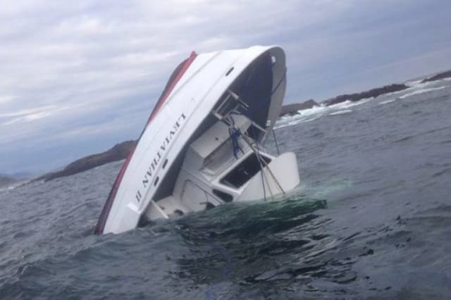 The capsized vessel