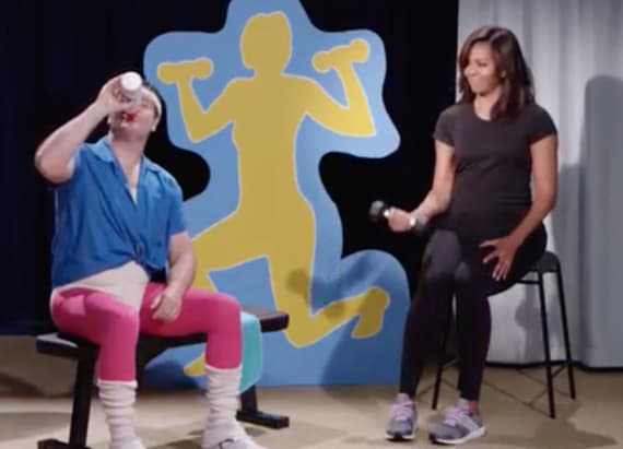Michelle Obama star in 'History of Exercise'