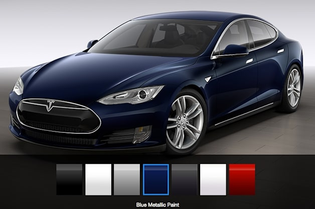 Tesla Model S Paint Choices screen grab