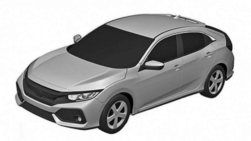Honda Civic Hatchback production design pops up in patent shots