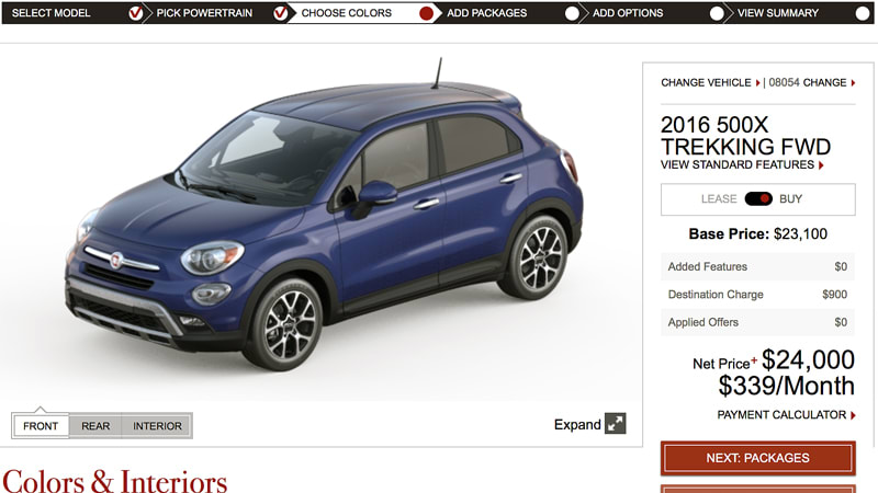 2016 fiat 500x configurator is live 20 000 to start mazdaspeed forums. Black Bedroom Furniture Sets. Home Design Ideas