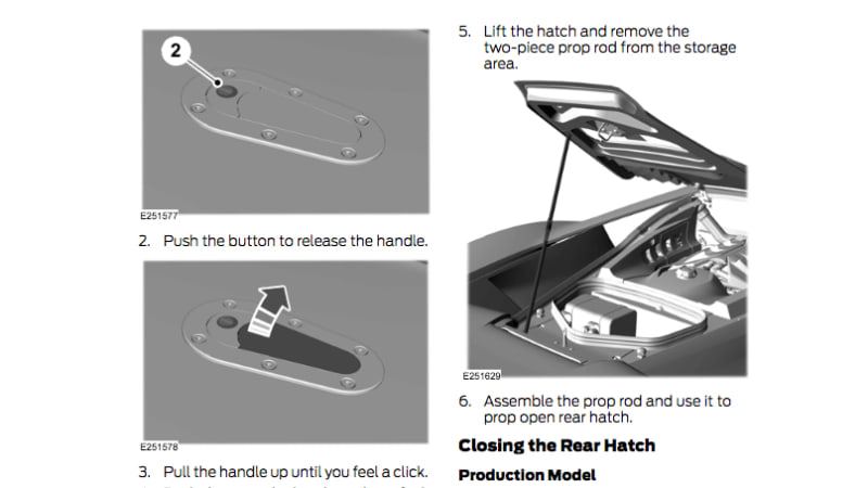 Screenshot of Ford GT owner's manual