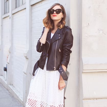 Street style tip of the day: Lace and leather