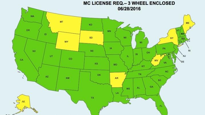 elio motorcycle license map