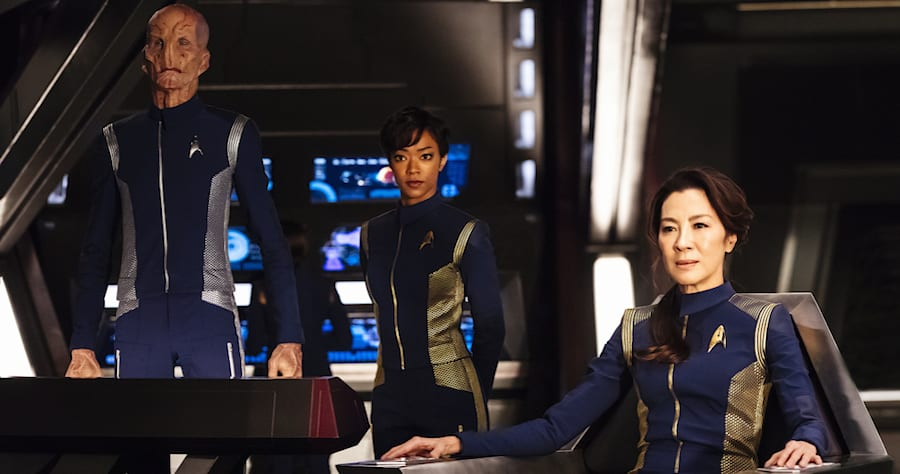 Doug Jones as Lieutenant Saru; Sonequa Martin-Green as First Officer Michael Burnham; Michelle Yeoh as Captain Philippa Georgiou. STAR TREK: DISCOVERY coming to CBS All Access. Photo Cr: Jan Thijs. © 2017 CBS Interactive. All Rights Reserved.
