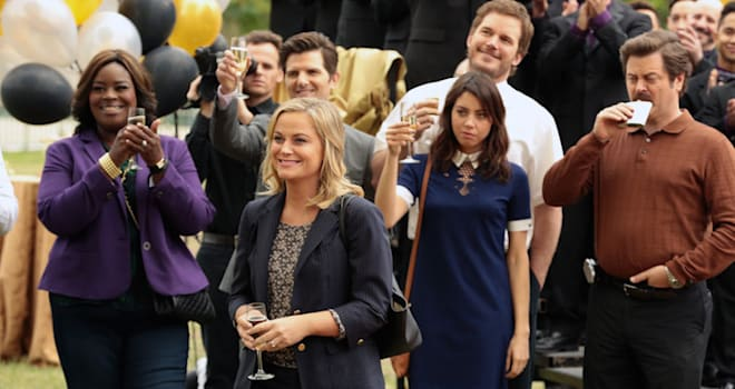 """PARKS AND RECREATION -- """"Viva Gunderson!"""" Episode 711 -- Pictured: (l-r) Retta as Donna Meagle, Adam Scott as Ben Wyatt, Amy Poehler as Leslie Knope, Aubrey Plaza as April Ludgate, Nick Offerman as Ron Swanson -- (Photo by: Chris Haston/NBC)"""