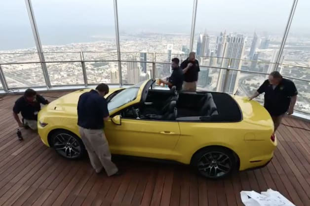 Ford Mustang at top of Burj Khalifa