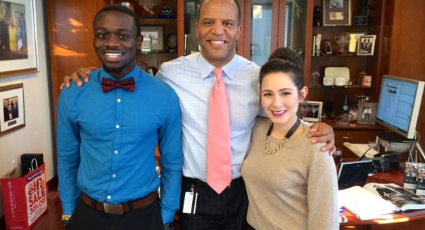 John Hope Bryant (center) with Office of the Chairman Fellow Eddie Minta (left) and OOC Intern Maria Martinez (right).
