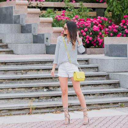 Street style tip of the day: Stripes and strappy heels