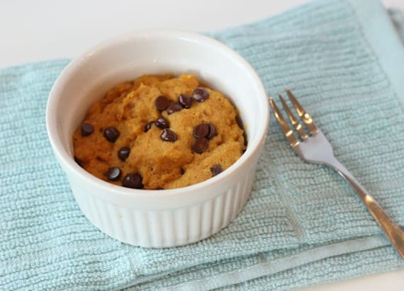 Single serving pumpkin chocolate chip cookie