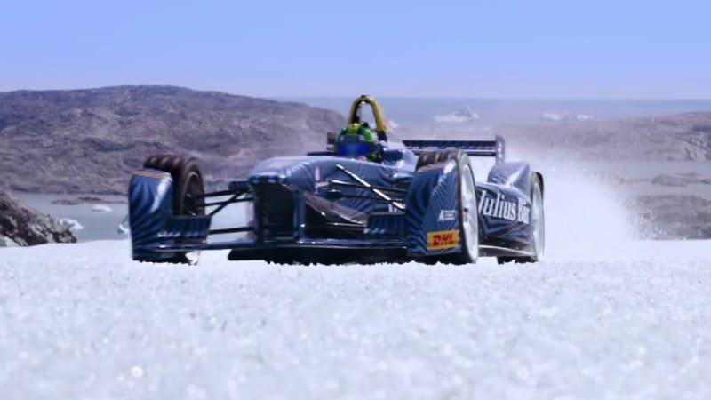 Formula E driving on Arctic ice, ethanol