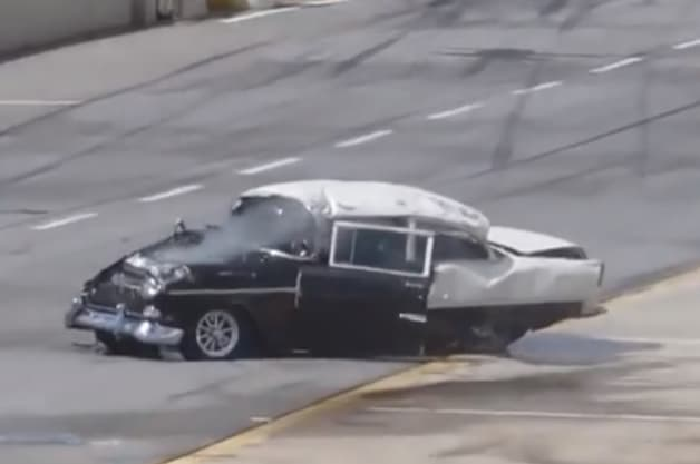 1955 Chevy drag race crash